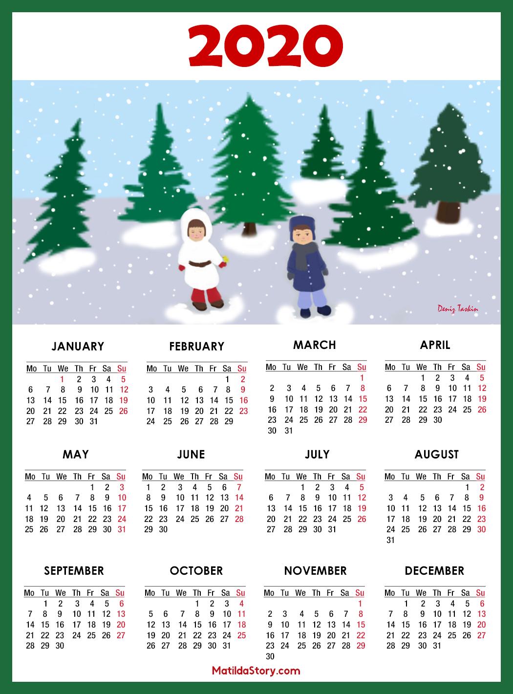 Calendar Christmas 2020 calendars with monday start – MatildaStory.com