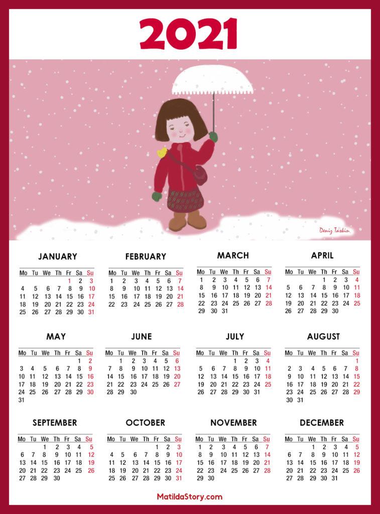 Calendar 2021 Printable - 1 Page - Monday Start ...