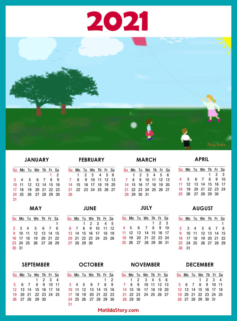Calendar 2021 Printable - 1 Page - Sunday Start ...