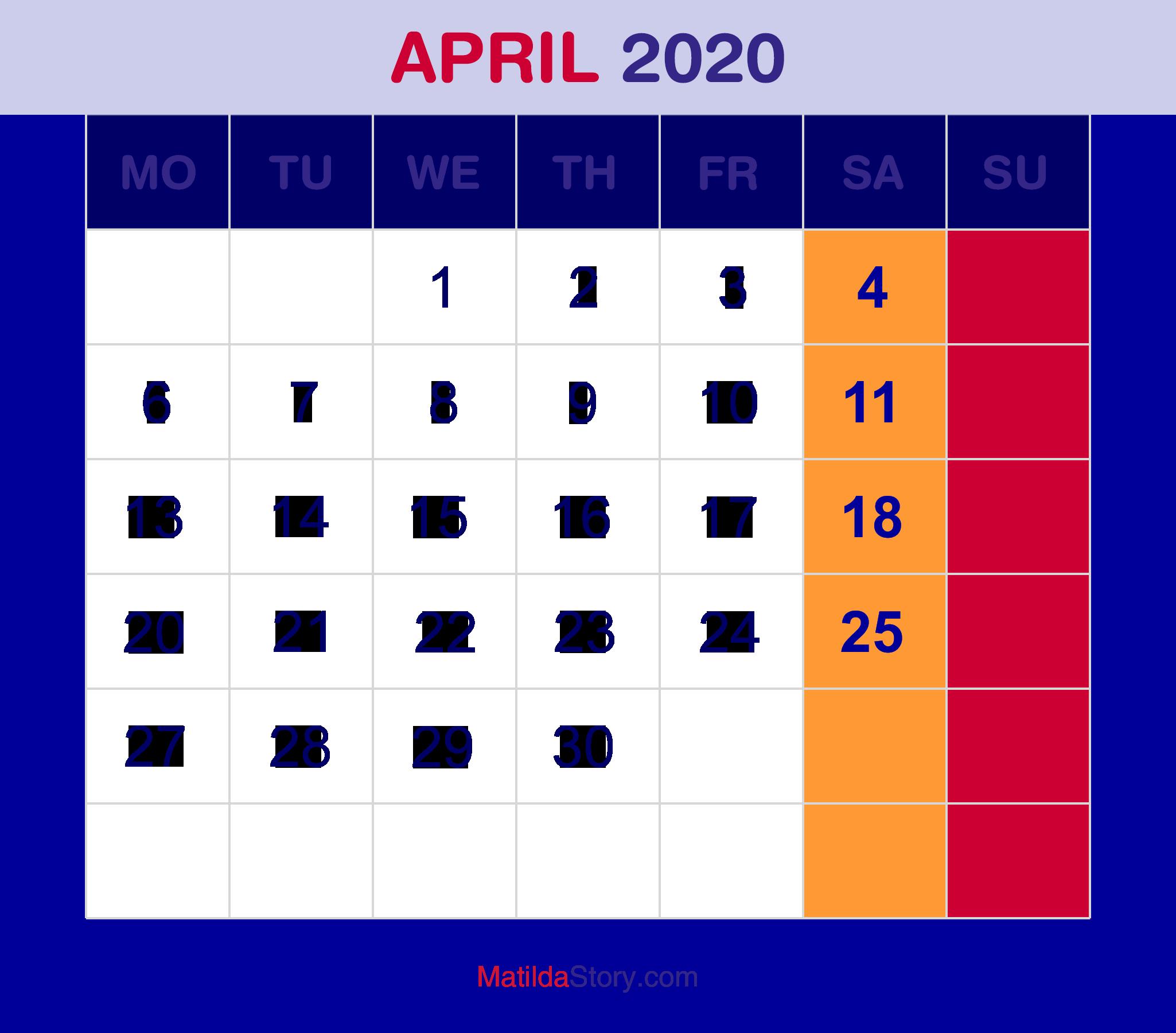 april 2020 calendar printable