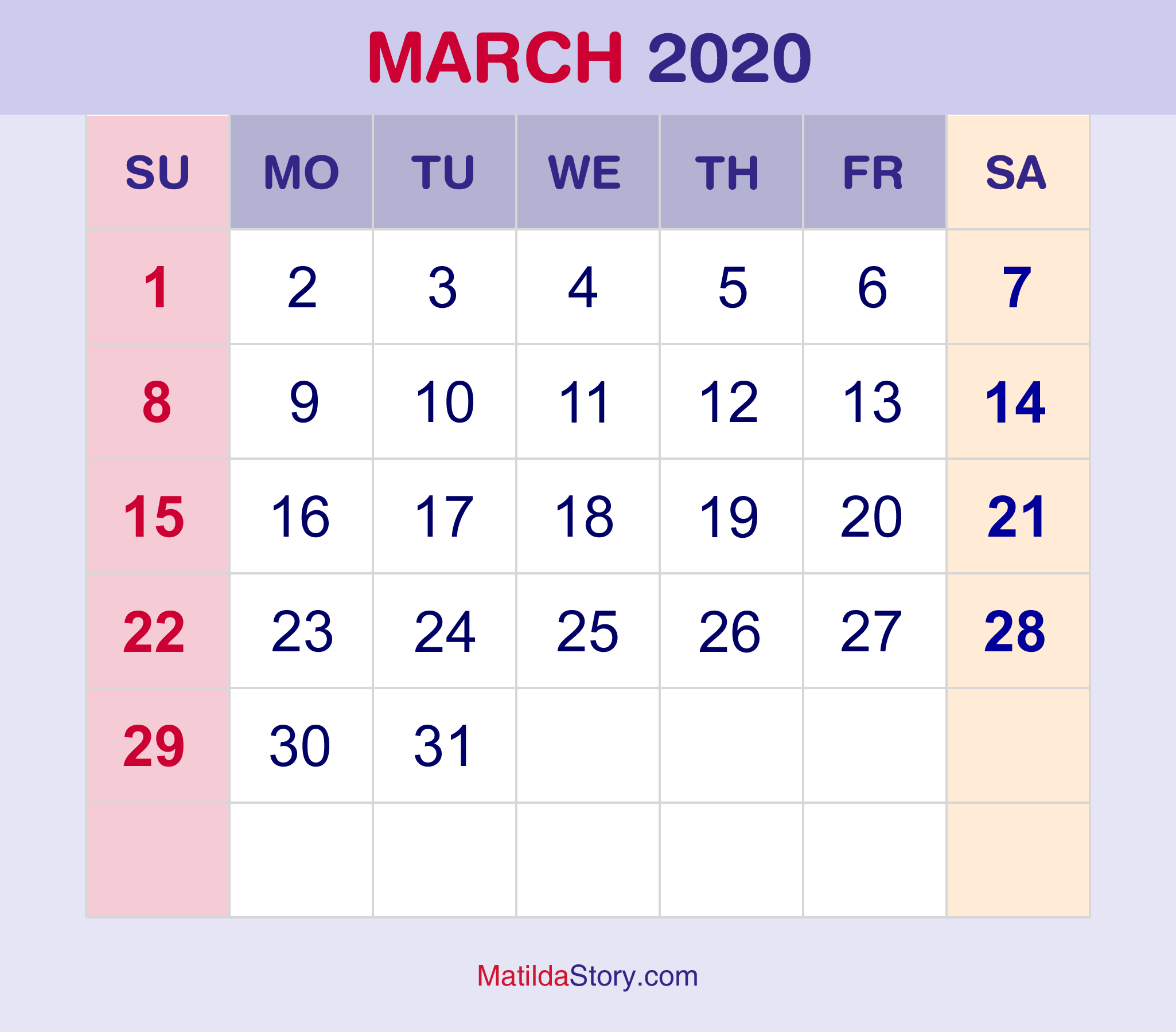 March 2020 Monthly Calendar, Monthly Planner, Printable