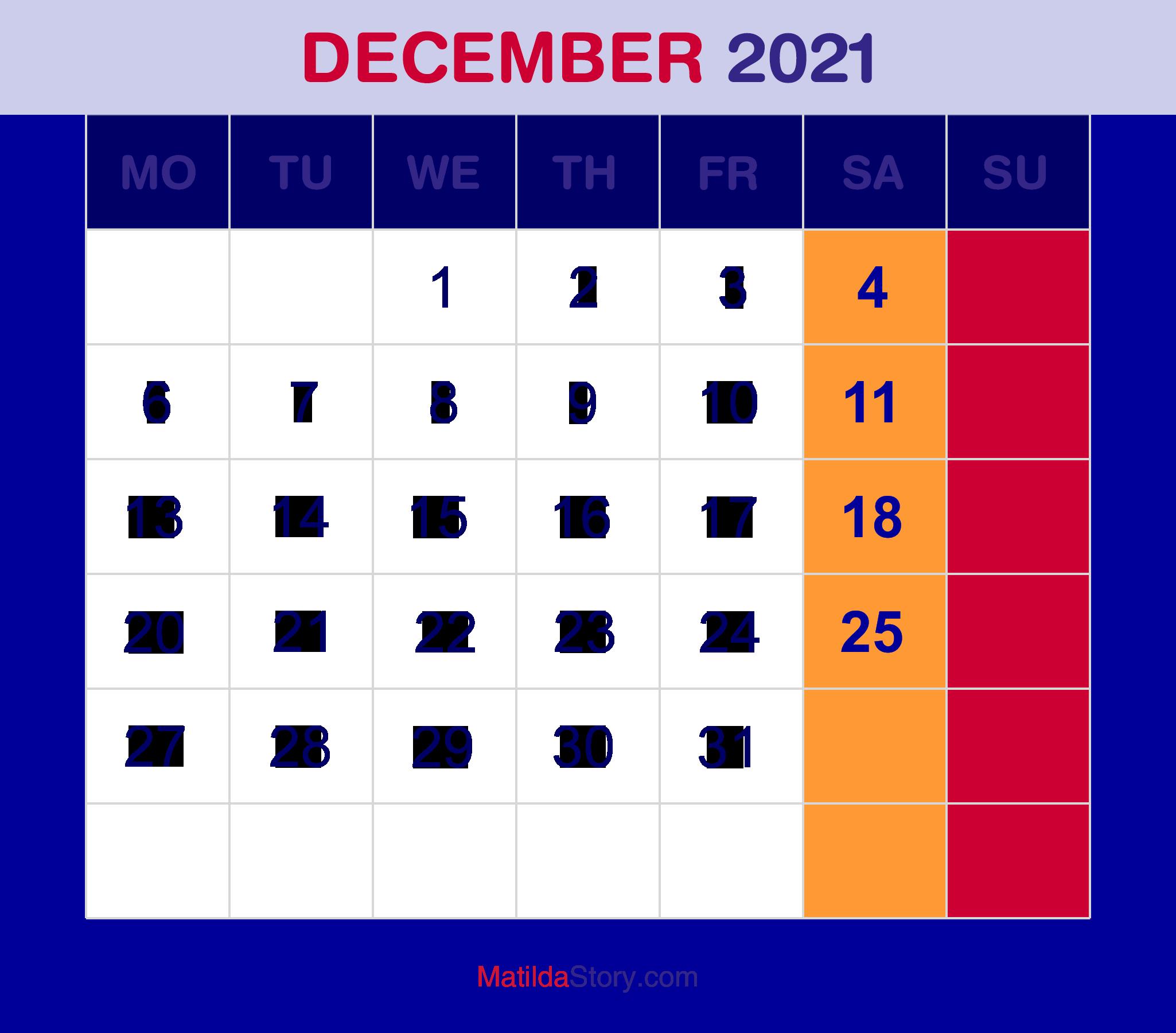 December 2021 Monthly Calendar, Monthly Planner, Printable ...