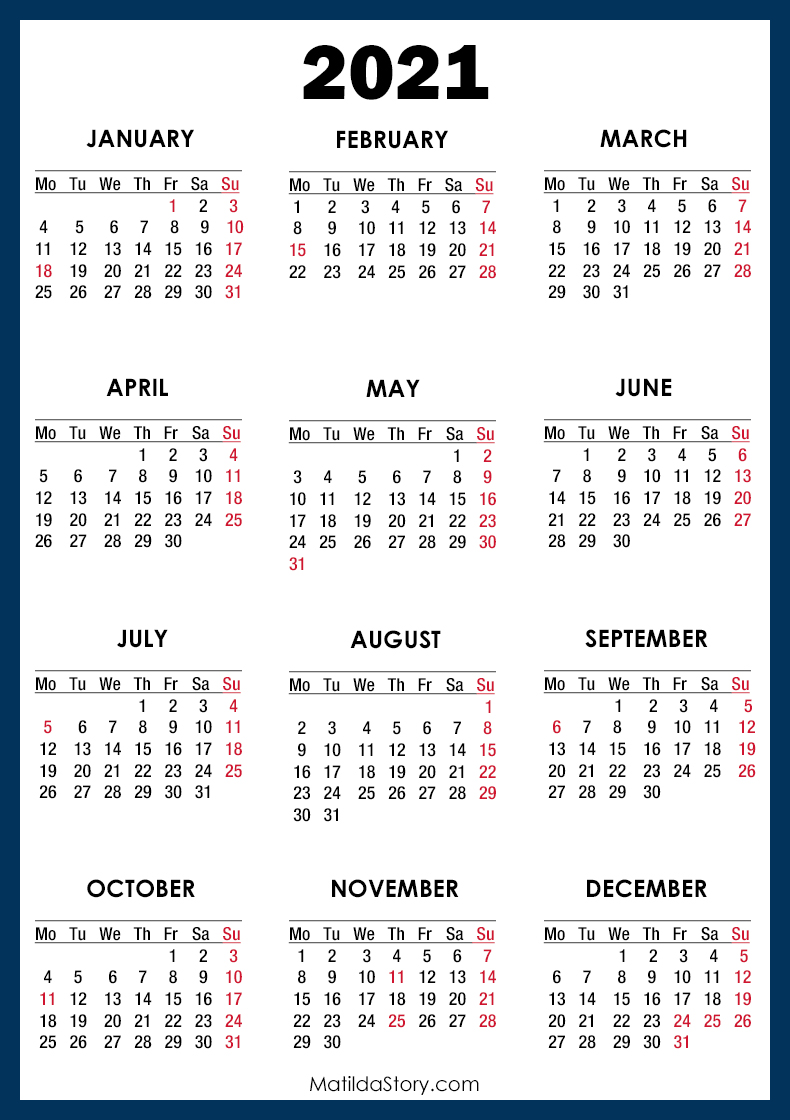 2021 Calendar with Holidays, Printable Free, Blue - Monday ...