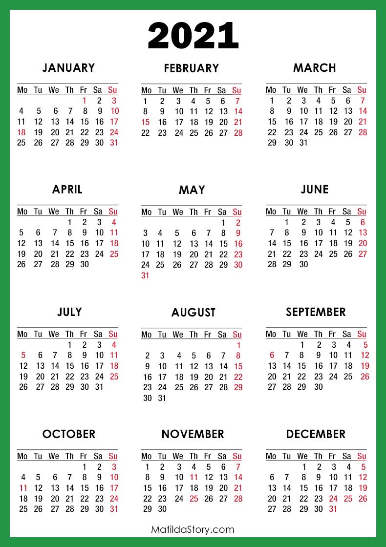 2021 Calendar with Holidays, Printable Free, Green ...
