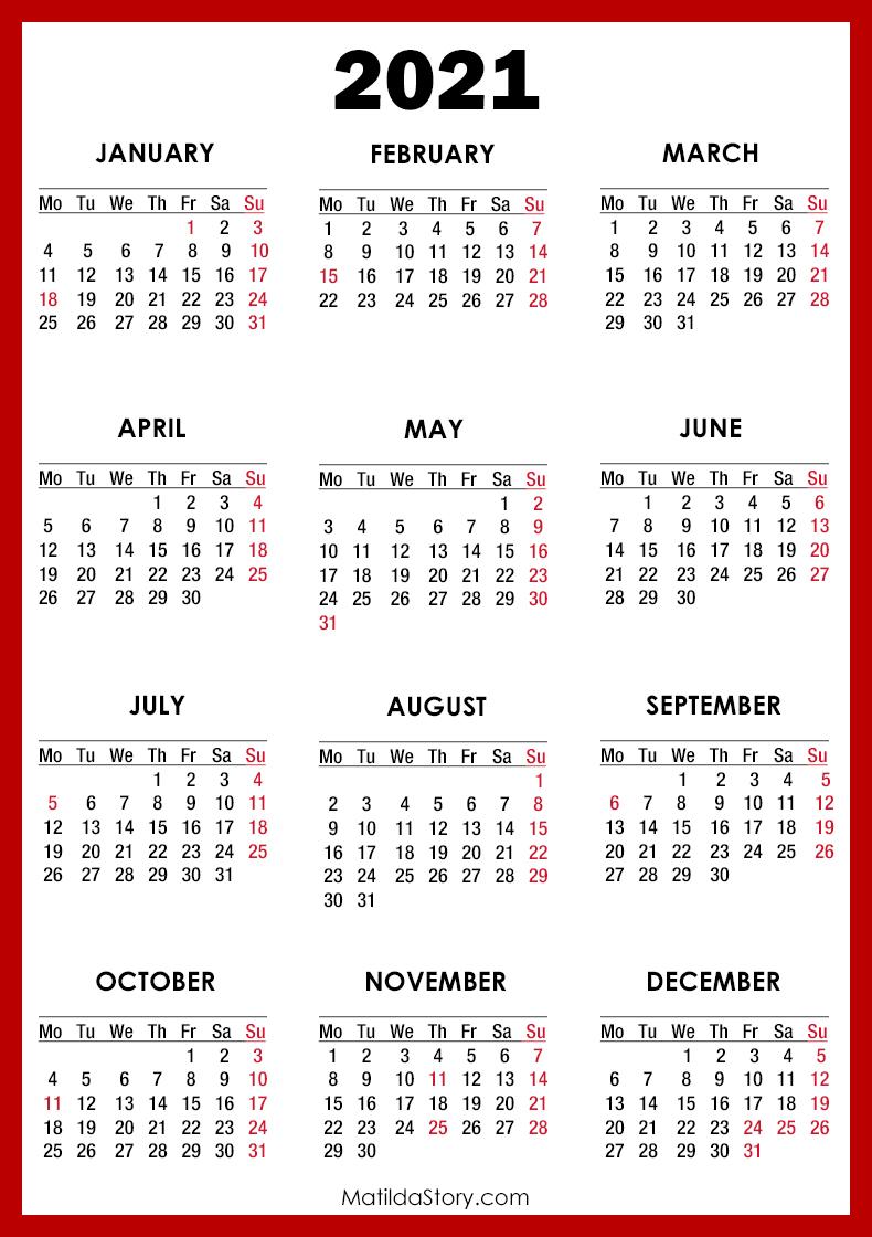 Photos of 2021 Calendar Monday Through Sunday