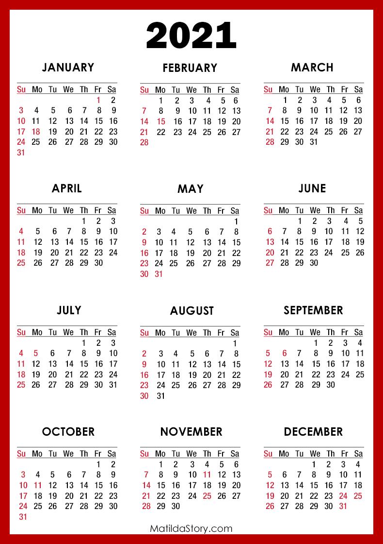 2021 Calendar with Holidays, Printable Free, Red - Sunday ...