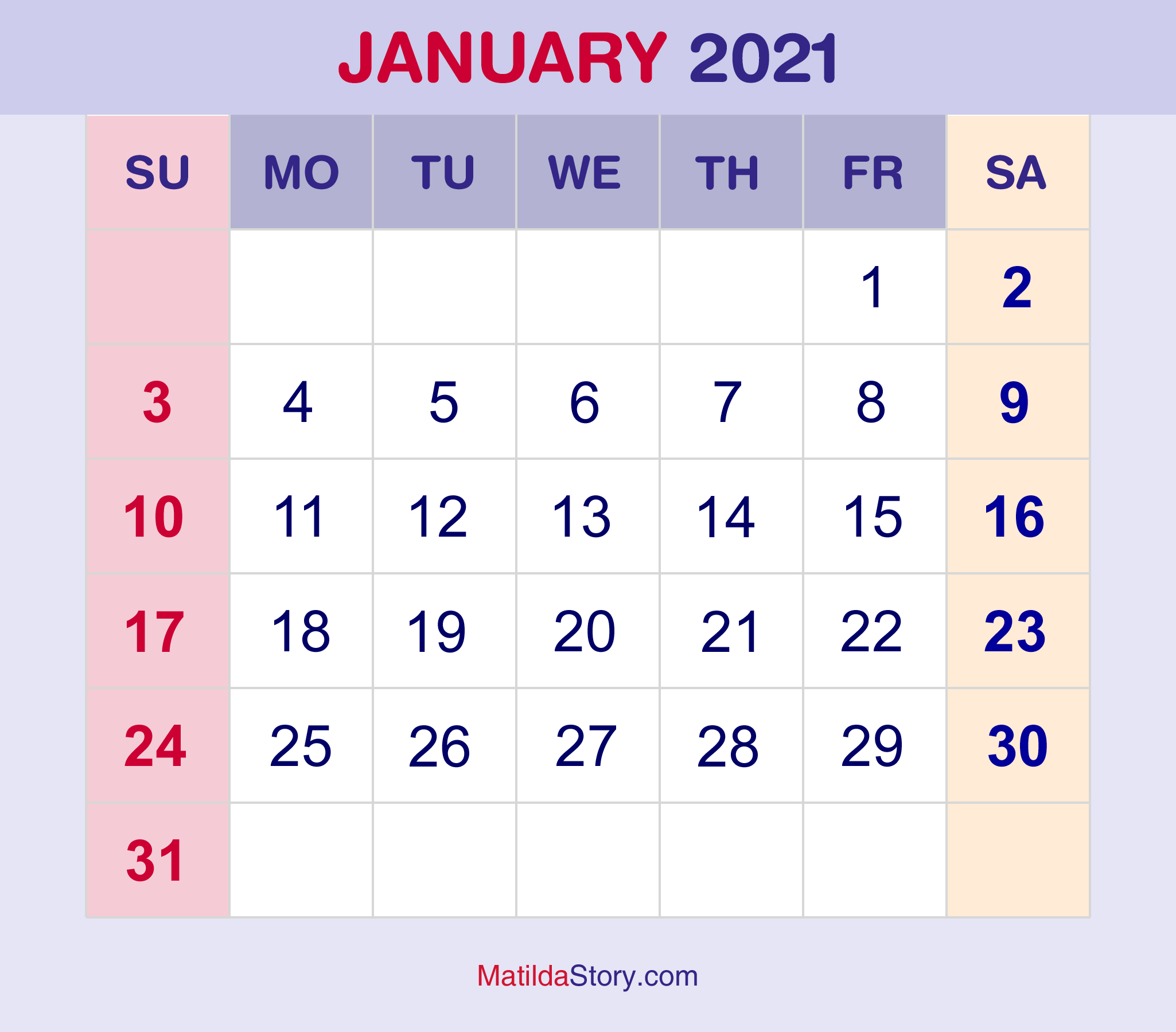 January 2021 Free Printable Monthly Calendar 2021 Canada ...