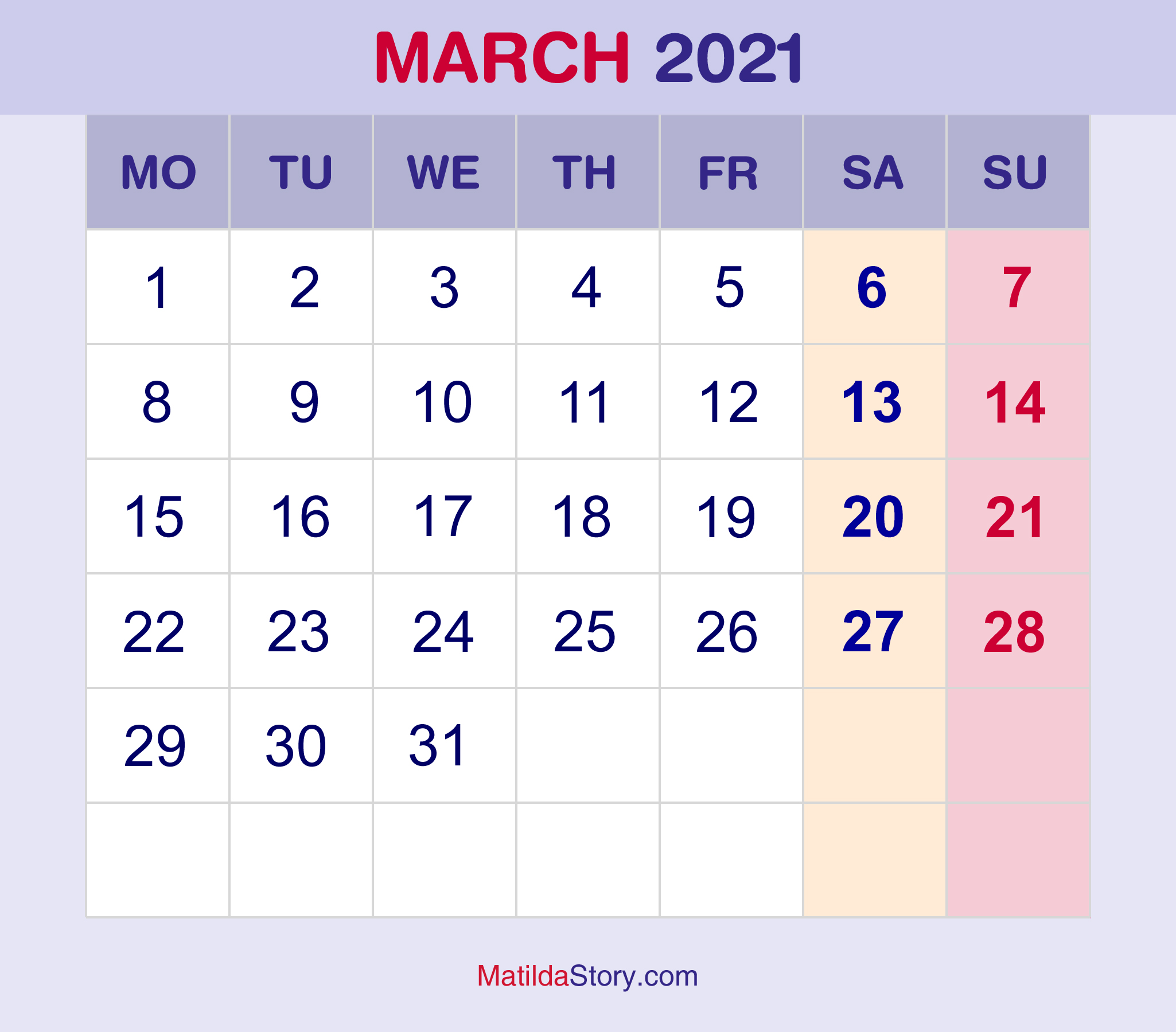 March 2021 Monthly Calendar, Monthly Planner, Printable ...
