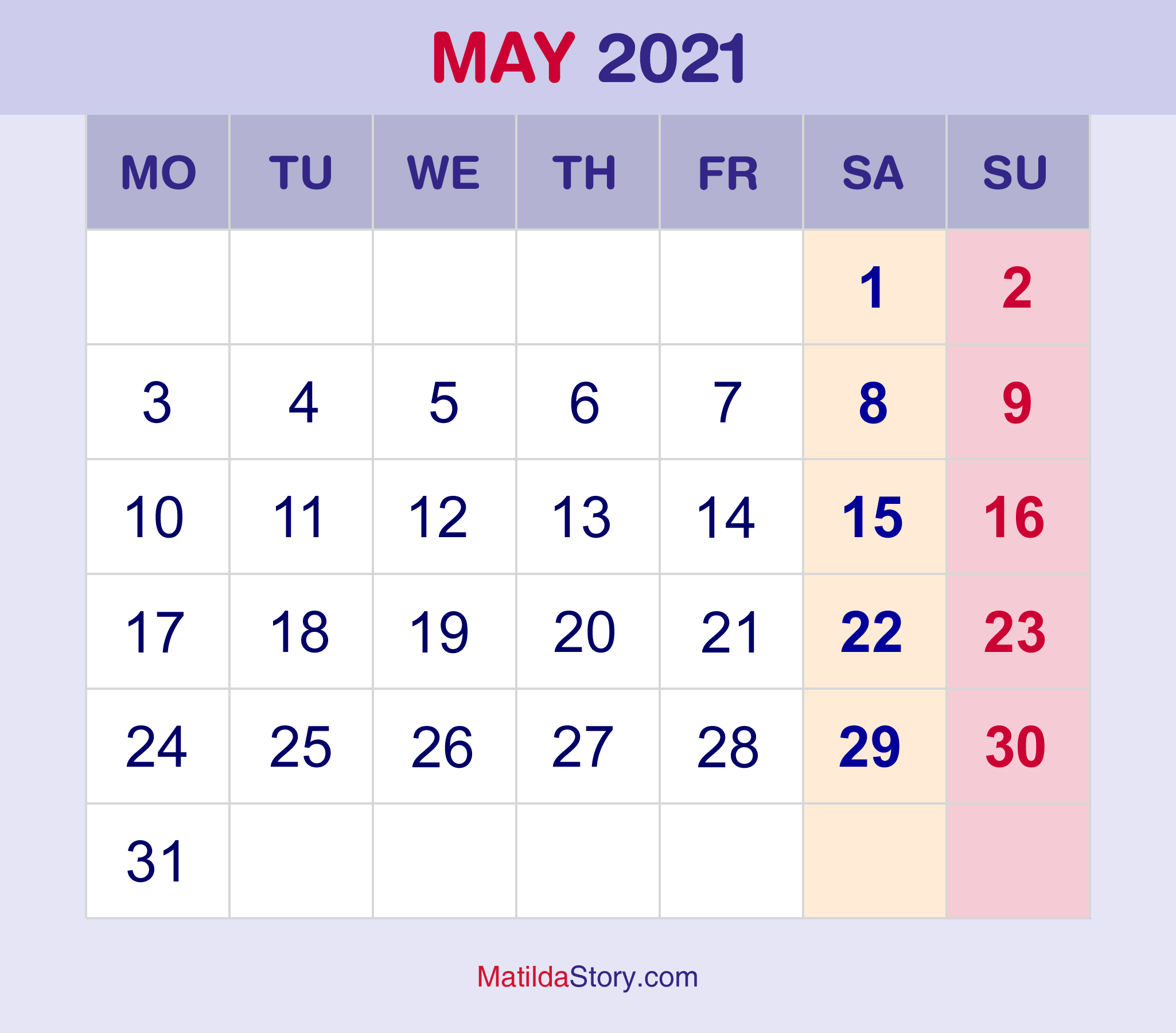 May 2021 Monthly Calendar, Monthly Planner, Printable Free ...