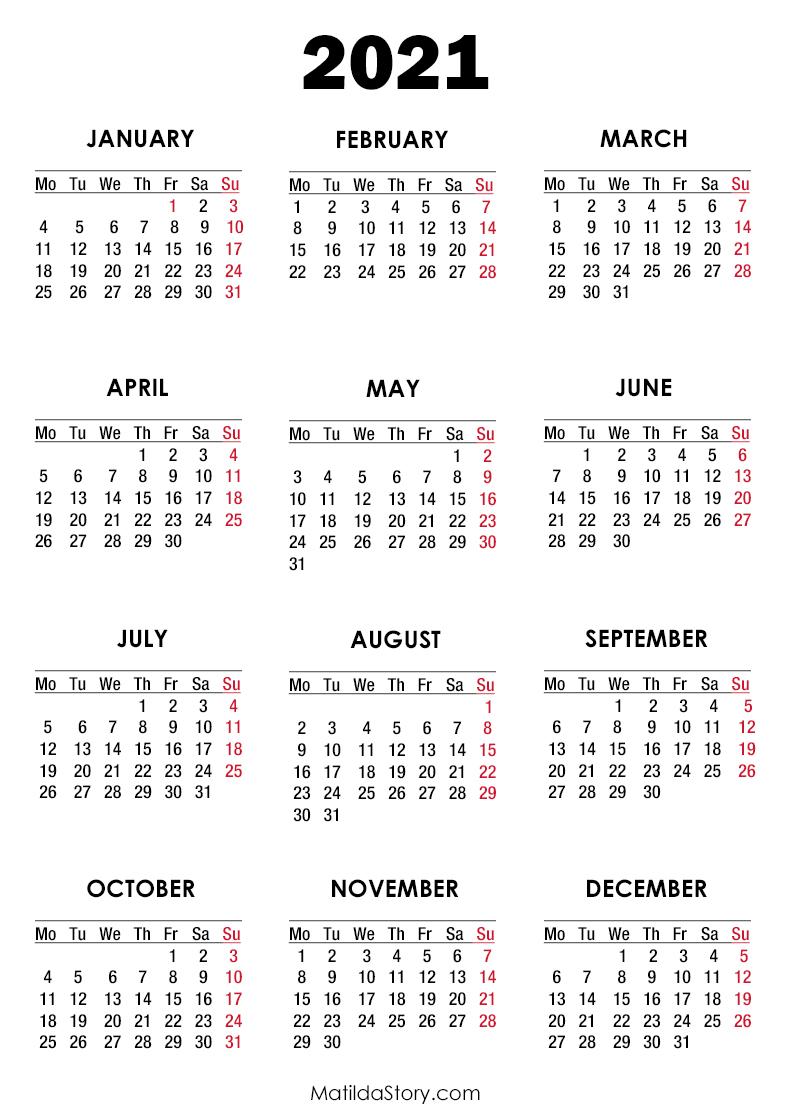 2021 Calendar Printable Free, White - Monday Start ...