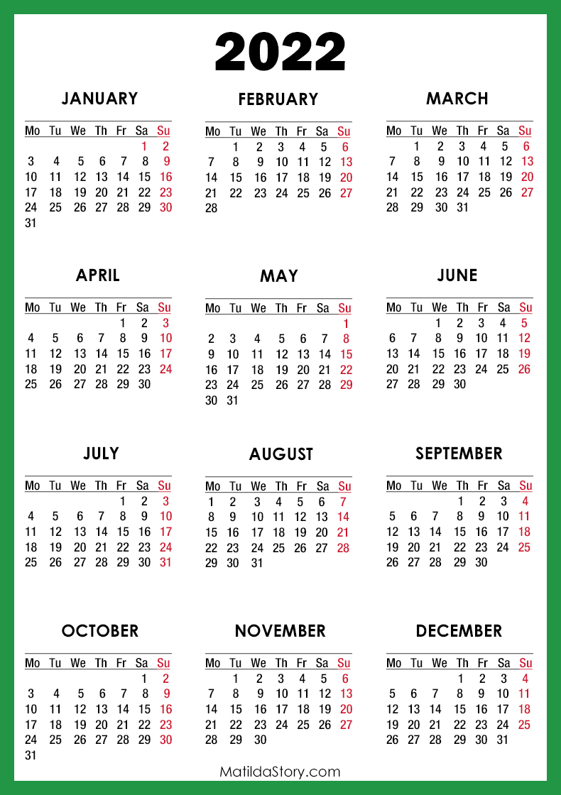 2022 Calendar Printable Free, Green - Monday Start ...