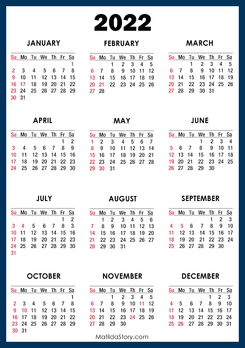 2022 Calendar with Holidays, Printable Free, Blue - Sunday ...