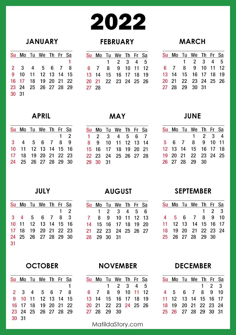 Unc Charlotte Calendar 2022.2022 Calendar With Holidays Printable Free Green Sunday Start Matildastory Com