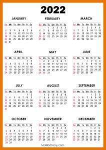 Reds Schedule 2022 Calendar.2022 Calendar With Holidays Printable Free Red Sunday Start Matildastory Com