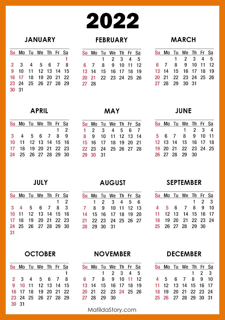 Cal Poly Calendar 2022.2022 Calendar With Holidays Printable Free Orange Sunday Start Matildastory Com