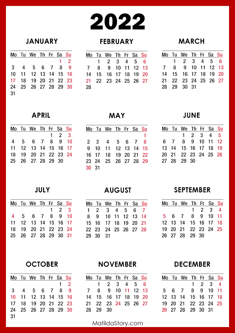 2022 Calendar With Holidays.2022 Calendar With Holidays Printable Free Red Monday Start Matildastory Com