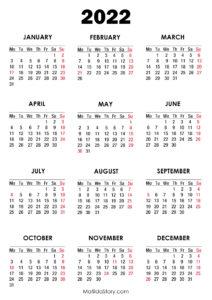 2022 Calendar Monday Start.2022 Calendar With Holidays Printable Free Red Monday Start Matildastory Com