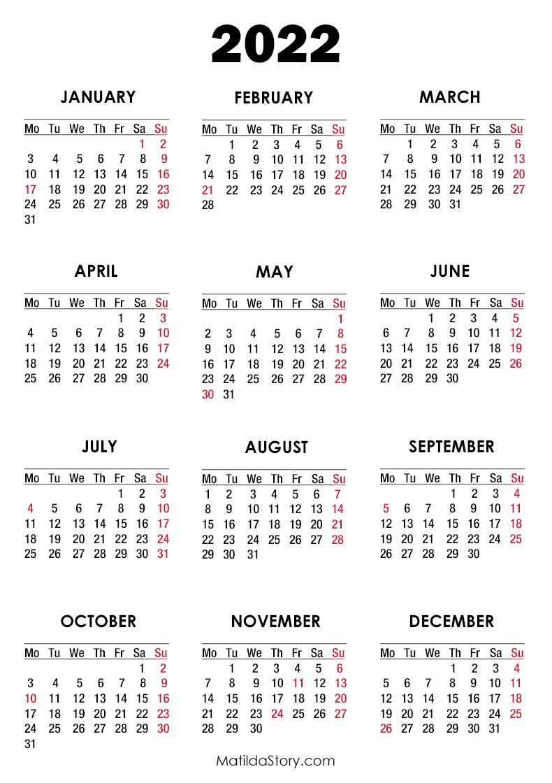 2022 Calendar Printable With Holidays.2022 Calendar With Holidays Printable Free White Monday Start Matildastory Com