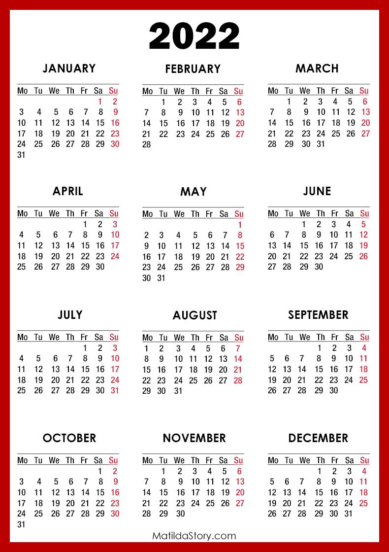 Free Print Calendar 2022.2022 Calendar Printable Free Red Monday Start Matildastory Com