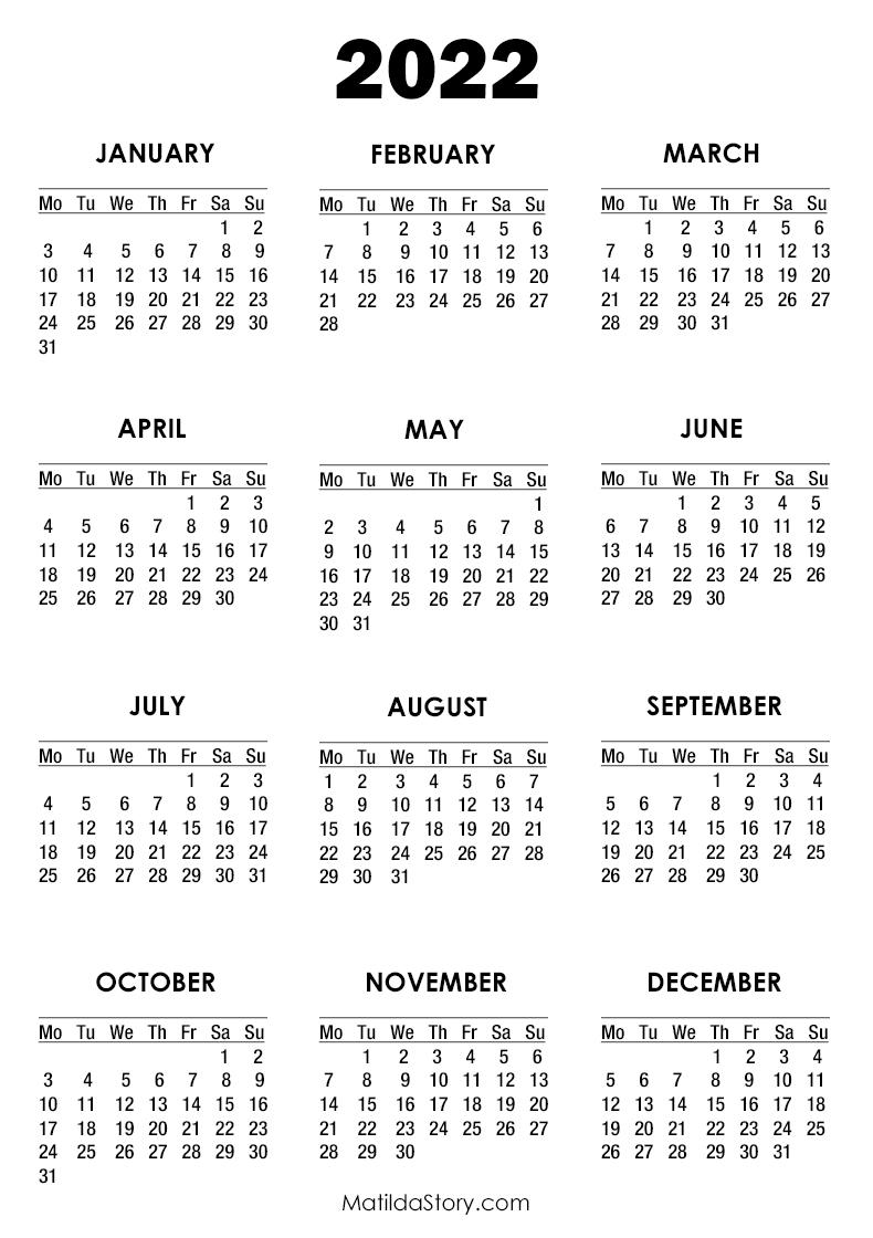 Free Print Calendar 2022.2022 Calendar Printable Free White Monday Start Matildastory Com
