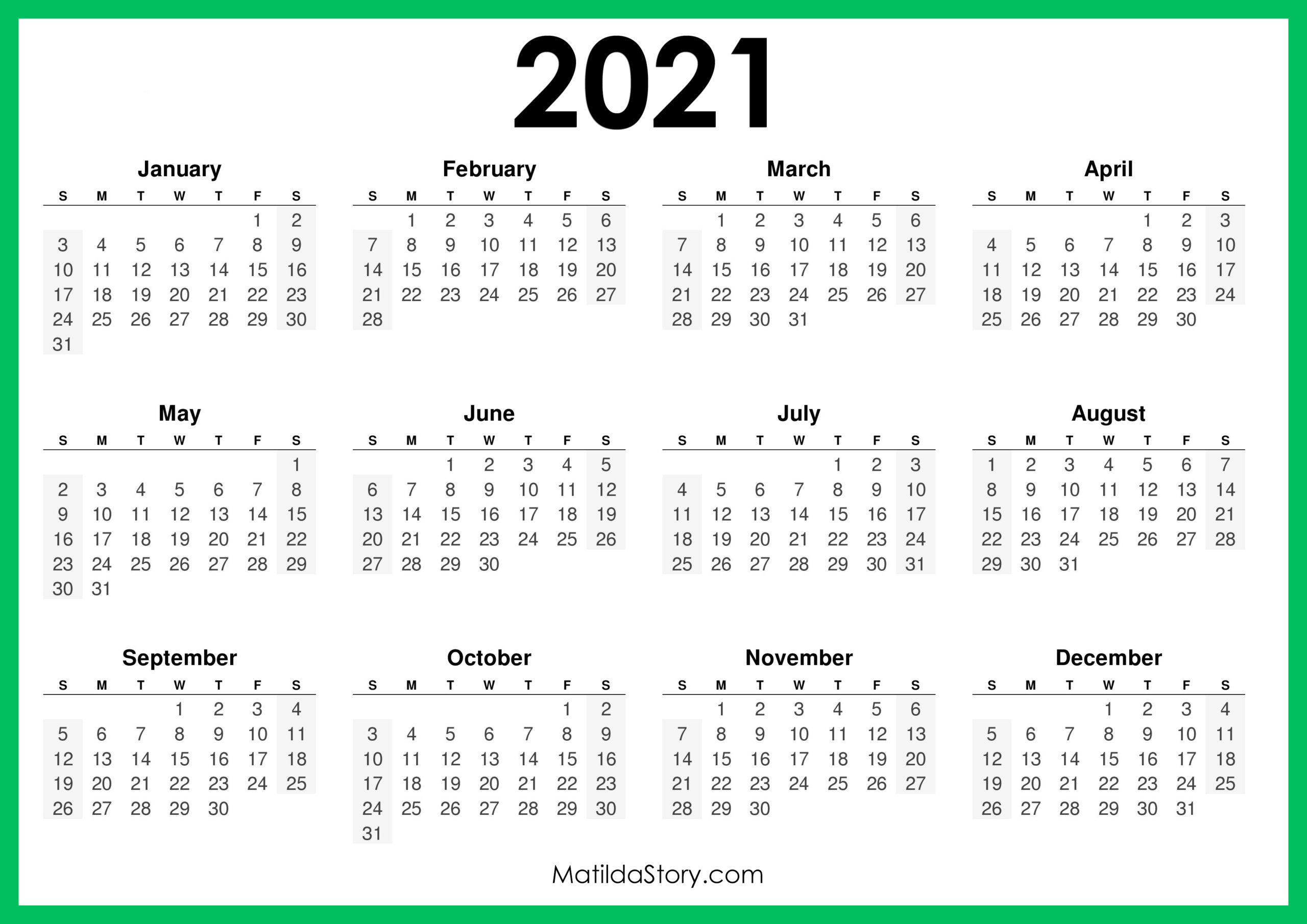 2021 Calendar Jpg 2021 Printable Free Calendar, Horizontal, Green – Sunday Start, HD