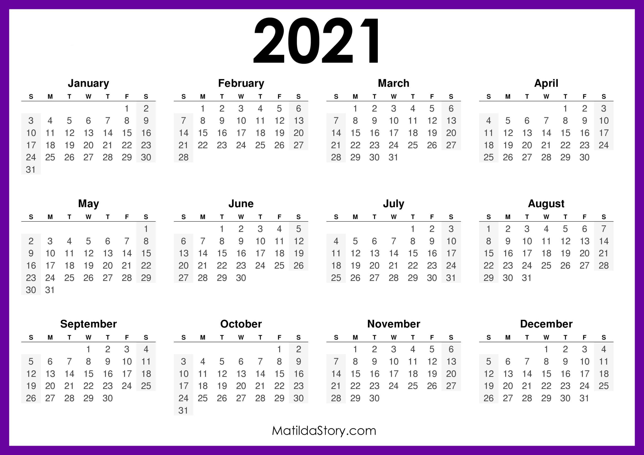 2021 Printable Free Calendar, Horizontal, Purple - Sunday ...