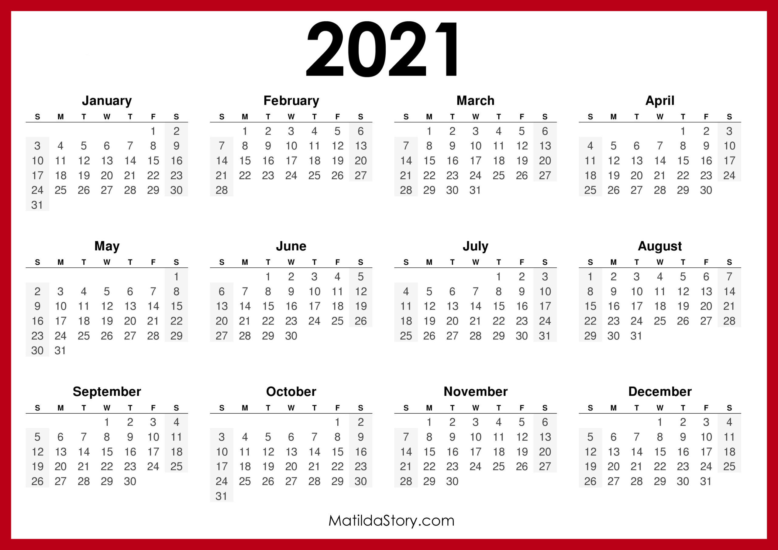 Pictures of 2021 Calendar Monday Through Sunday