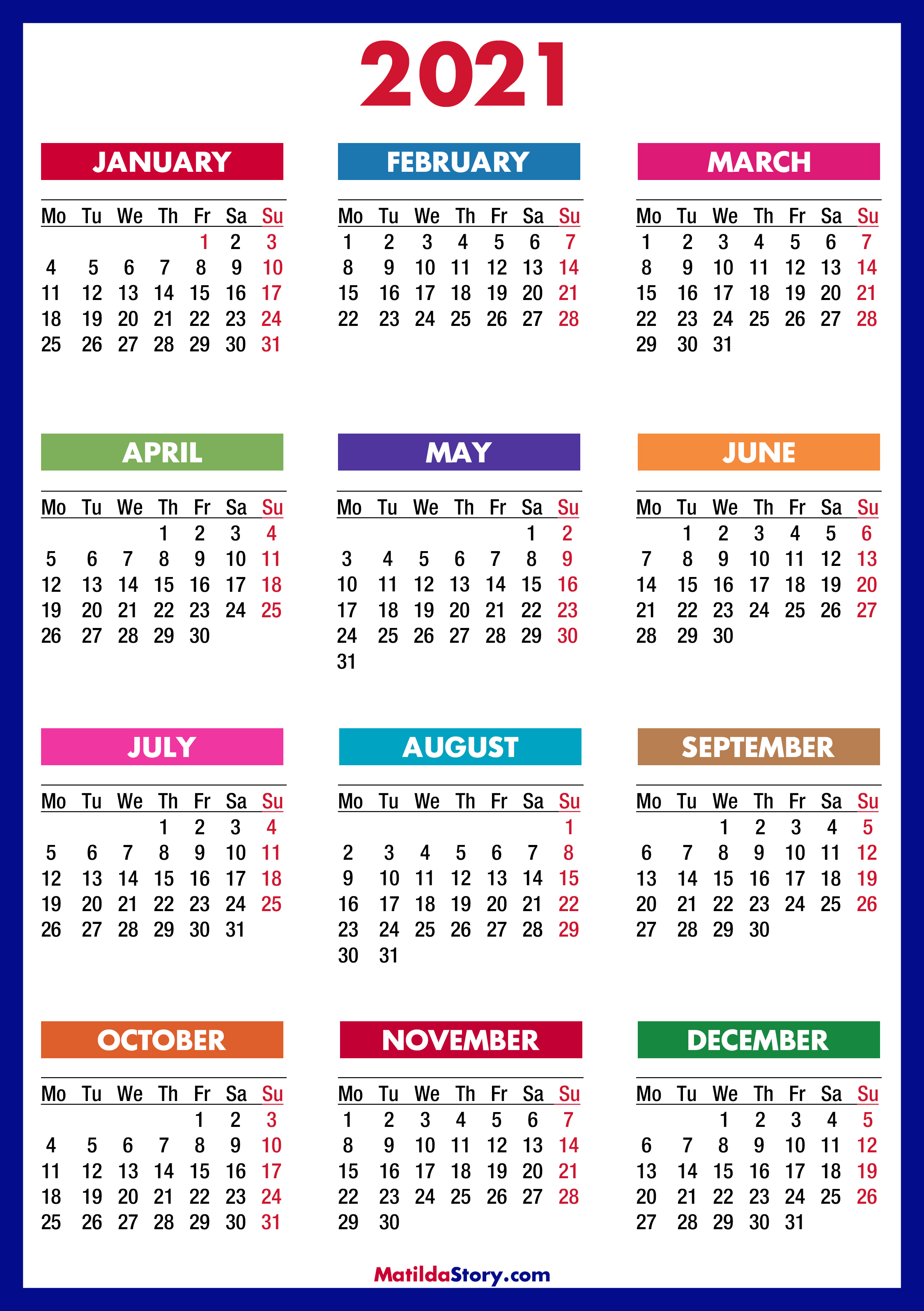 20 Calendar Printable Free, Colorful, Blue, Green – Monday Start ...