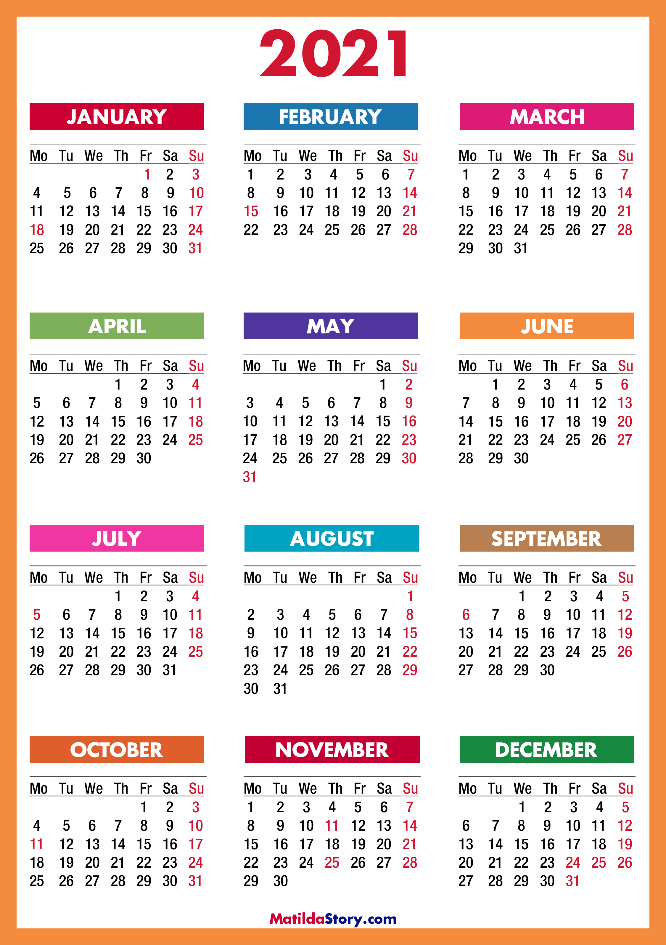 2021 Calendar with Holidays, Printable Free, Colorful, Red, Orange