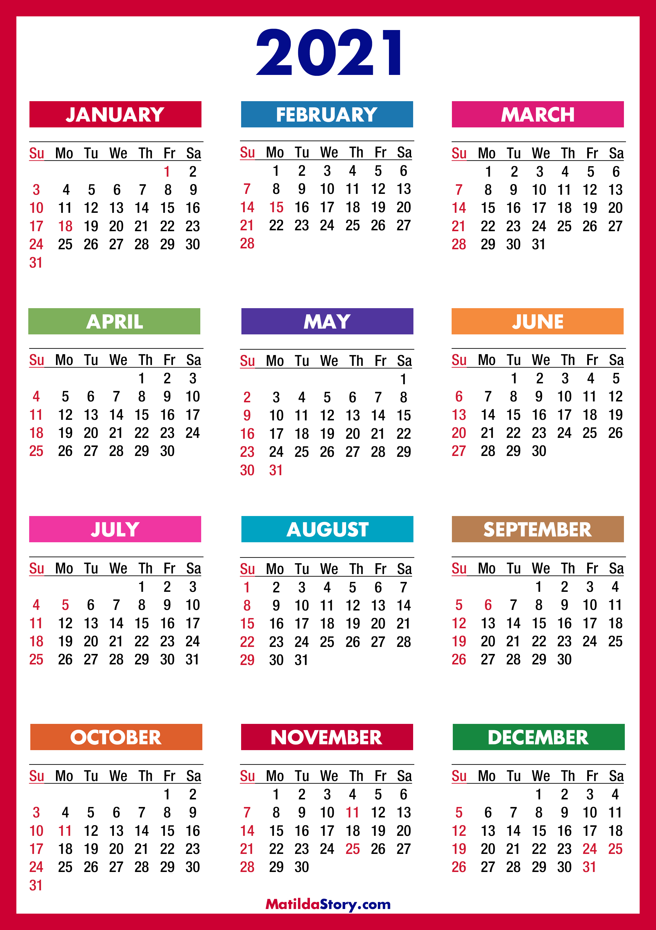 2021 Calendar with Holidays, Printable Free, Colorful, Red ...