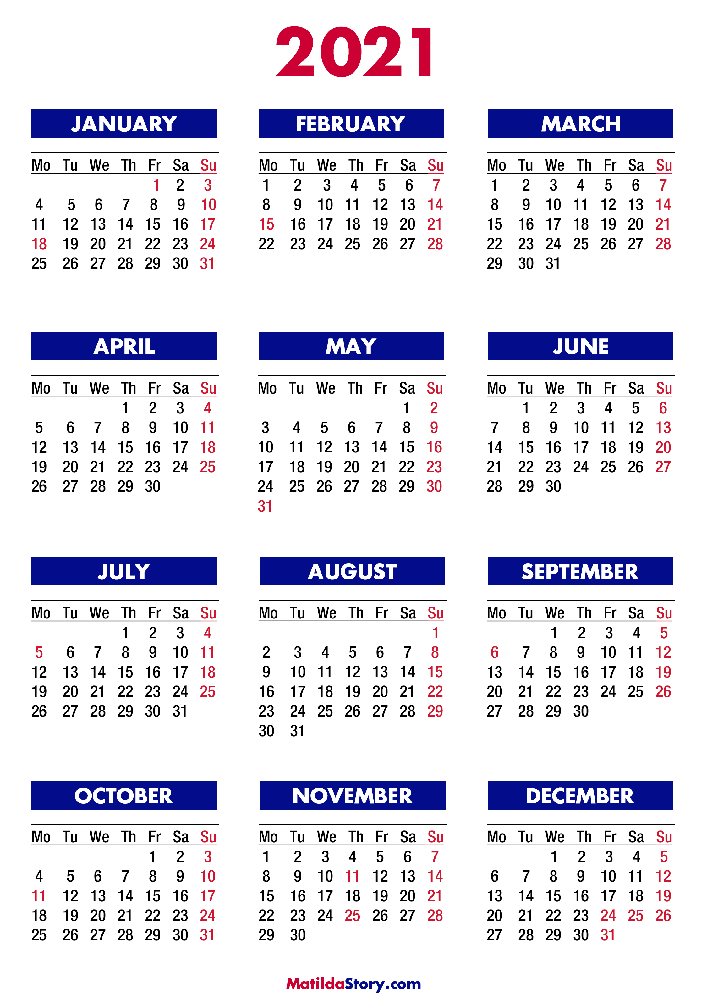 2021 Printable Calendar One Page With Holidays Background