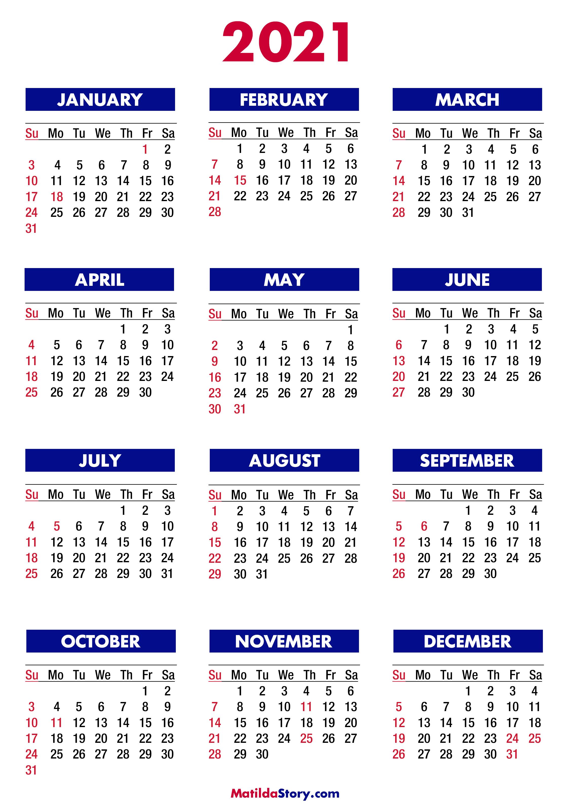 2021 Calendar with Holidays, Printable Free, Colorful ...